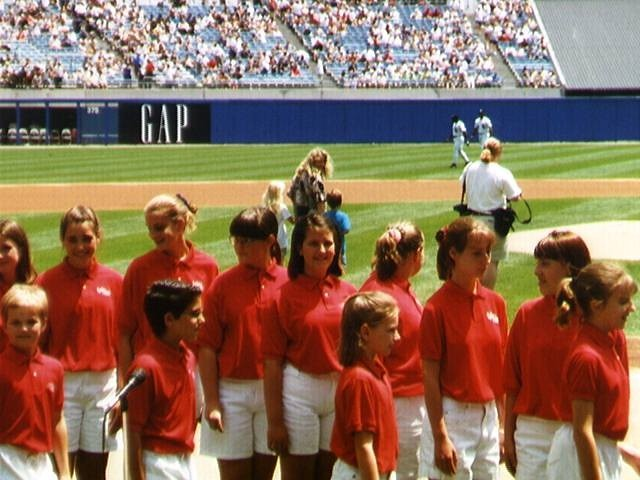 Singing the National Anthem at a Chicago White Sox game as a young chorester