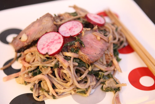 Peanut Soba Noodle with Beef and Bok Choy