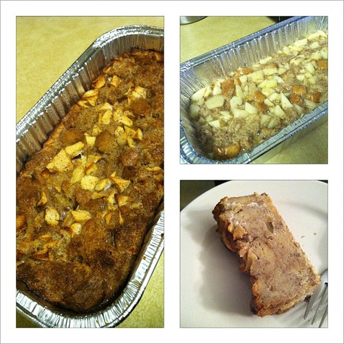 I made apple bread pudding -  first time!  #baking #food #yum
