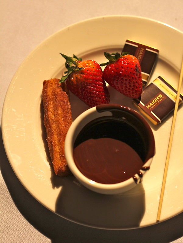 My plate of chocolate, strawberries and churros
