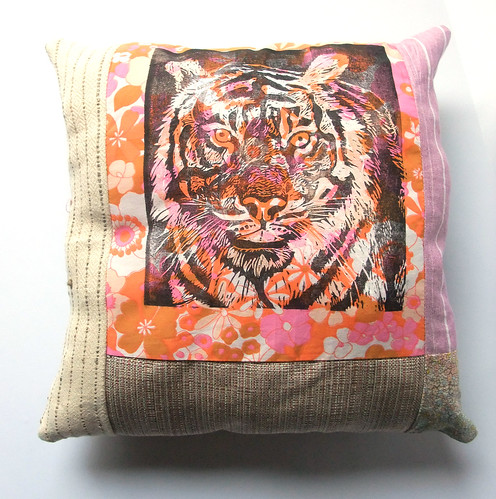 tiger flower pillow