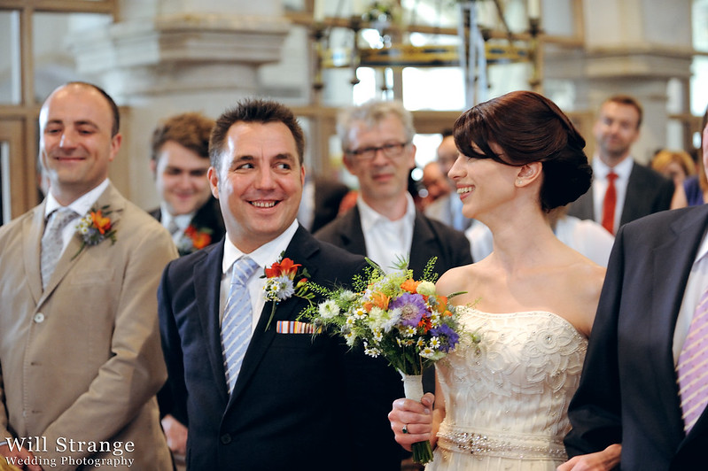 Groom and bride meet in the church