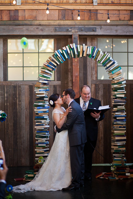 wedding arch of books
