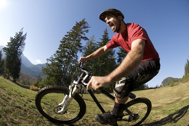 Joel Harwood has no fun at all riding his bike