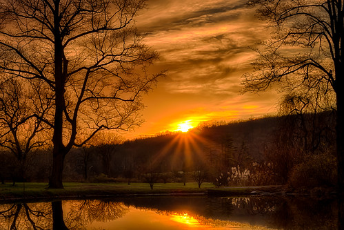 sunset tree water newjersey pond nj sunburst hdr ringwood passaiccounty ringwoodstatepark