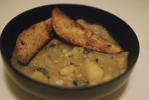 Baked potato and greens soup