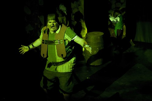 Big green mean machine: Scott Glynn as the Ogre Rumbletum in the Brunton Theatre's 2012 pantomime: Puss In Boots