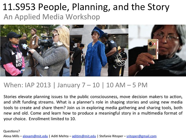 People, Planning, and the Story: An Applied Media Workshop