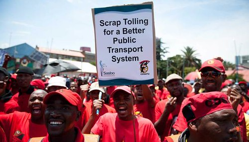 South African march against e-tolling on November 30, 2012. The demonstration was supported by COSATU, the SACP and ANCYL. by Pan-African News Wire File Photos