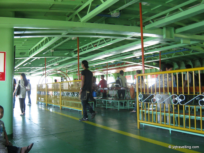 Inside the ferry with passengers
