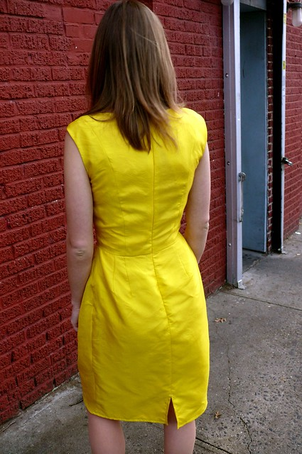 Yellow organza sheath dress