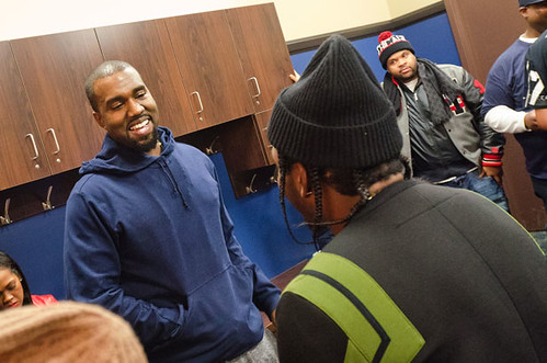Kanye West and Pusha T after show at The Palace of Auburn Hills, 12/01/12