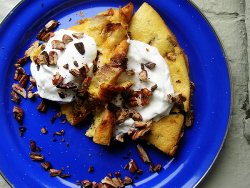 sweet clafouti with roasted apples, greek yogurt, and pecans