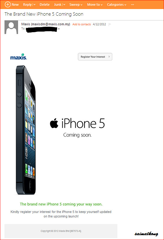 Maxis – The Brand New iPhone 5 Coming Soon‏! Registration of Interest for iPhone 5 with Maxis