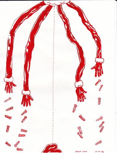 Ilustración: 4 manos lanzando bombas al vacío