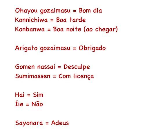 Palavras básicas em japonês
