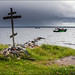 Orthodox cross on the sea shore