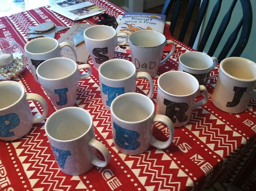 11 mugs all in a row