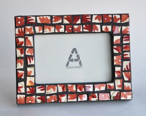 Red Flowers Mosaic Frame