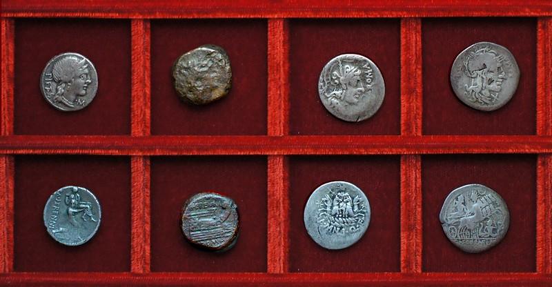 RRC 308 M.HERENNI Herennia denarius, quadrans, RRC 309 A.MANLI QF SER Manlia, RRC 310 CN.CORNEL SISENA Cornelia, Ahala collection, coins of the Roman Republic