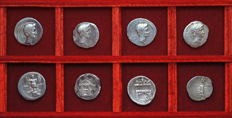 Octavian HCRI 419 naval trophy, HCRI 421 temple, HCRI 422 triumphal arch, HCRI 423 rostral column, Ahala collection Roman Republic