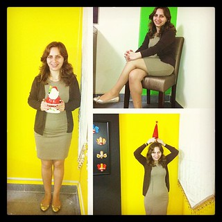 #Dressember |  Day 10  #dressember2012  #dress #yellow #green #interior #christmas #tree #red #santa