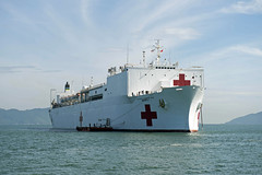 In this file photo, USNS Mercy (T-AH 19) sits anchored off the coast of Da Nang, Vietnam, during Pacific Partnership 2016. (U.S. Navy/MC1 Elizabeth Merriam)