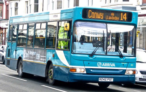X242 PGT 'Arriva Wales' 911 Dennis Dart MPD / Plaxton Pointer 2 on 'Dennis Basford's railroadsrunways.blogspot.co.uk'