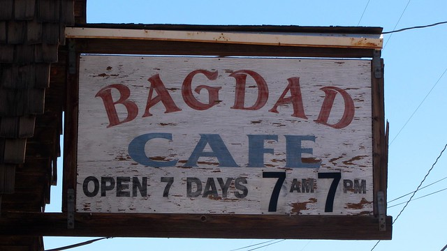 Bagdad Cafe sign, California
