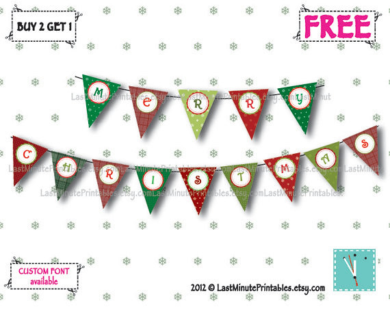Holiday banner, christmas template, Christmas decal, christmas stencil, christmas lot, christmas bunting, banner bunting, bunting clipart 04a
