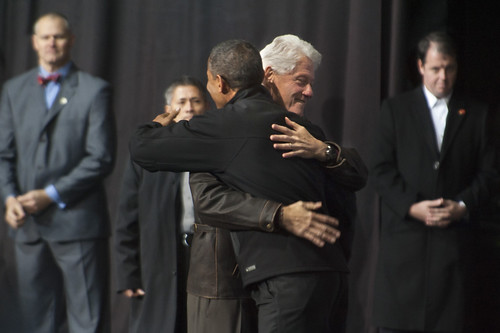 President Obama Hugs Bill Clinton