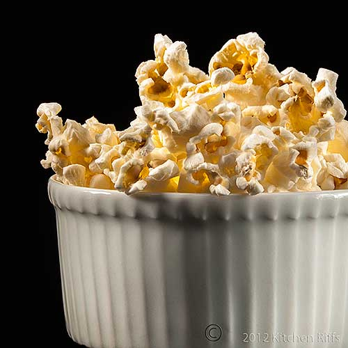 Microwave Popcorn in White Ramekin