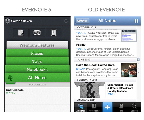Evernote New and Old