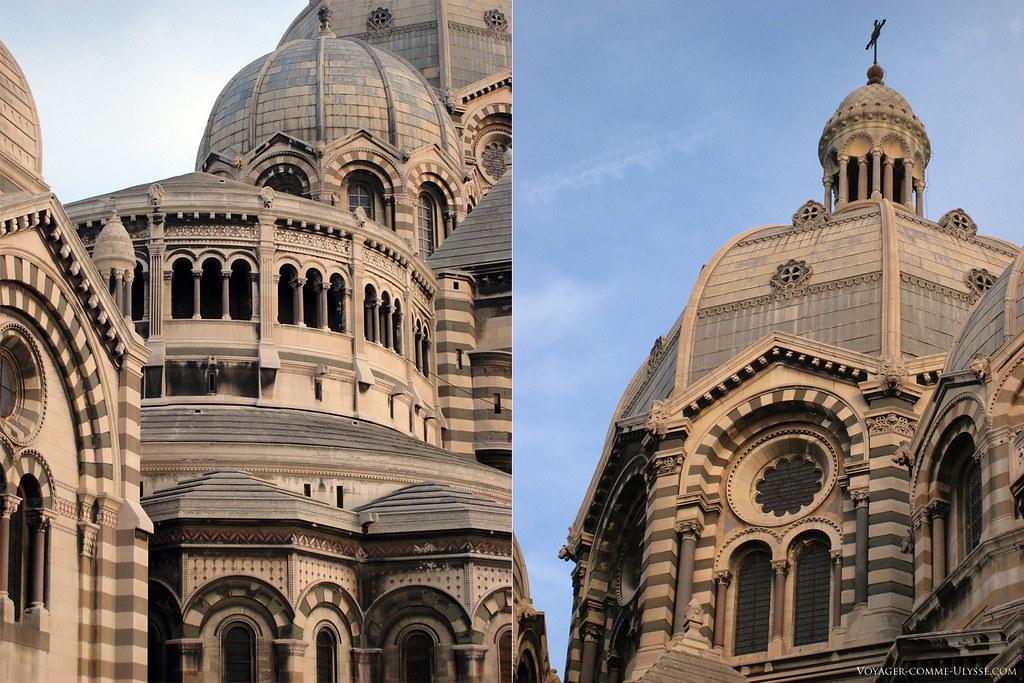 A gauche, vue extérieure de l'abside. A droite, la coupole principale avec ses 17,70 mètres de diamètre.