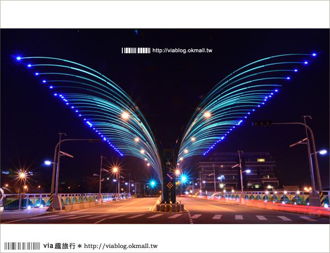 【台中清新橋】台中蝴蝶橋~宛若一隻夜幕中展翅的華麗彩蝶!