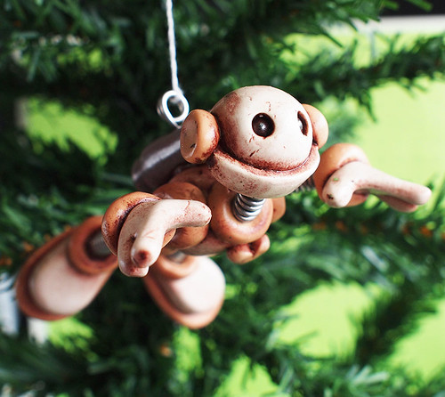 Tan Ted Grungy Robot with Jetpack Christmas Ornament by HerArtSheLoves