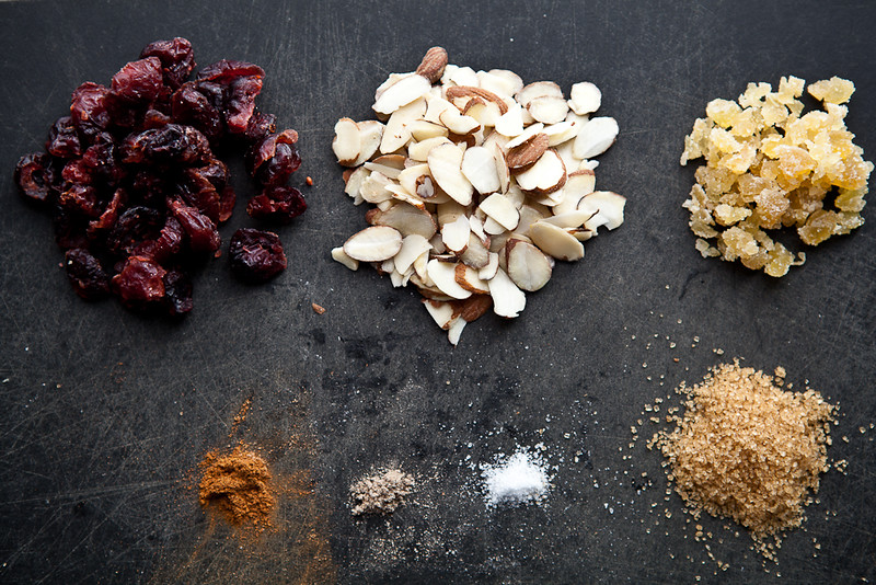 Cranberry Ginger Oatmeal Raw Ingredients