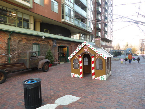 a gingerbread house in the Distillery District in advance of Toronto Christmas Market 2012