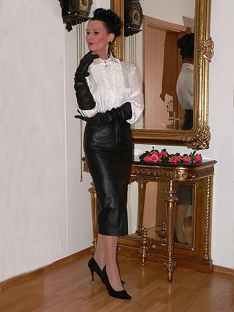 Blouse Leather Skirt