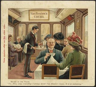 Van Houten's Cocoa, heard in the train. 'Yes, Miss, when travelling I always drink Van Houten's Cocoa. It is so sustaining.' [front]