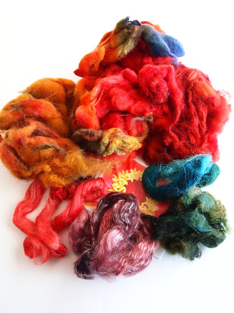 FCK-my birthday gift from Ginny-batt pack-3.4oz-Corriedale fleece, firestar, mohair locks, merino-tencel top, Tussah silk