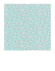 7x7 inch SQ JPG white typography numbers on light turquoise LARGE SCALE