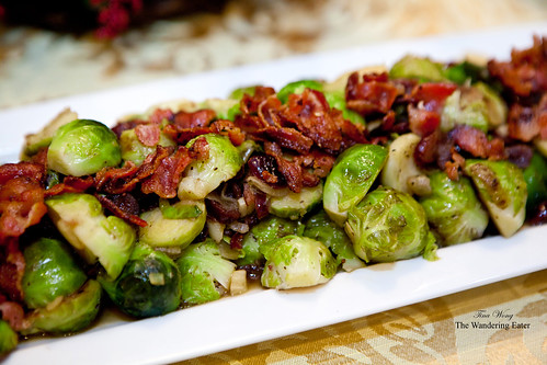 Brussels sprouts with bacon and dried cranberries