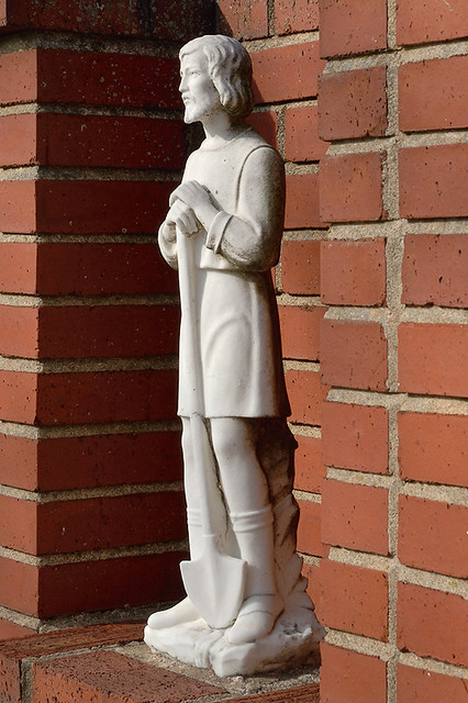 Saint Ignatius Loyola Roman Catholic Church, in Concord Hill, Missouri, USA - statue of Saint Isidore the Farmer