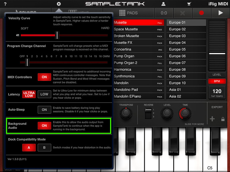 SampleTank Settings