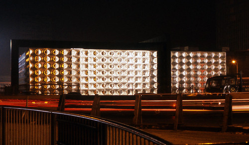 Elephant & Castle, London at night from 1964. Michael Faraday Memorial