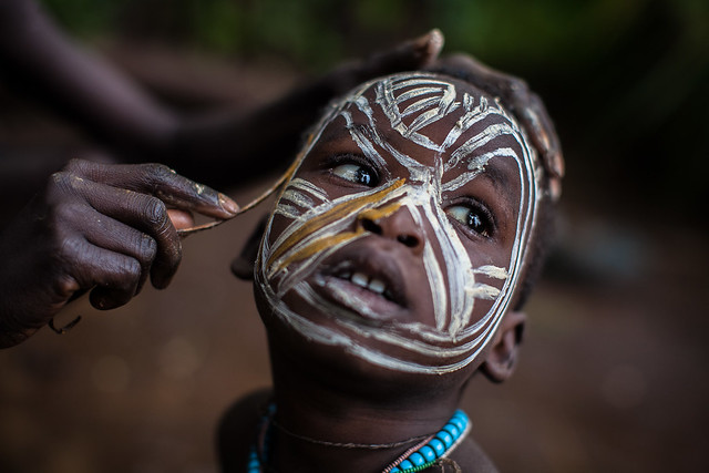 Surma tribe child with face painting