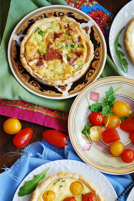 Bacon and egg tartlets with Gouda cheese and green onions, for breakfast