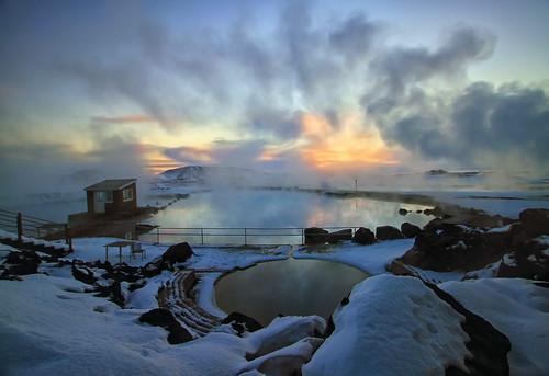blue winter sunset sun lake snow hot cold ice nature water pool iceland bath europe european natural freezing fresh steam springs baths bathing hotsprings toshio mývatn lakemyvatn icleand jarðböðin lakex