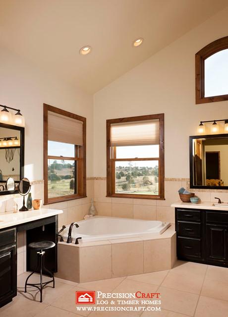Timber Frame Master Bathroom | PrecisionCraft Timber Frame Homes